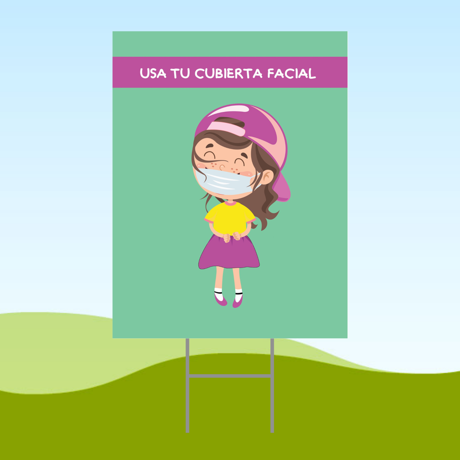 Wear Your Mask Girl SPANISH 18x24 Yard Sign WITH STAKE Corrugated Plastic Bandit