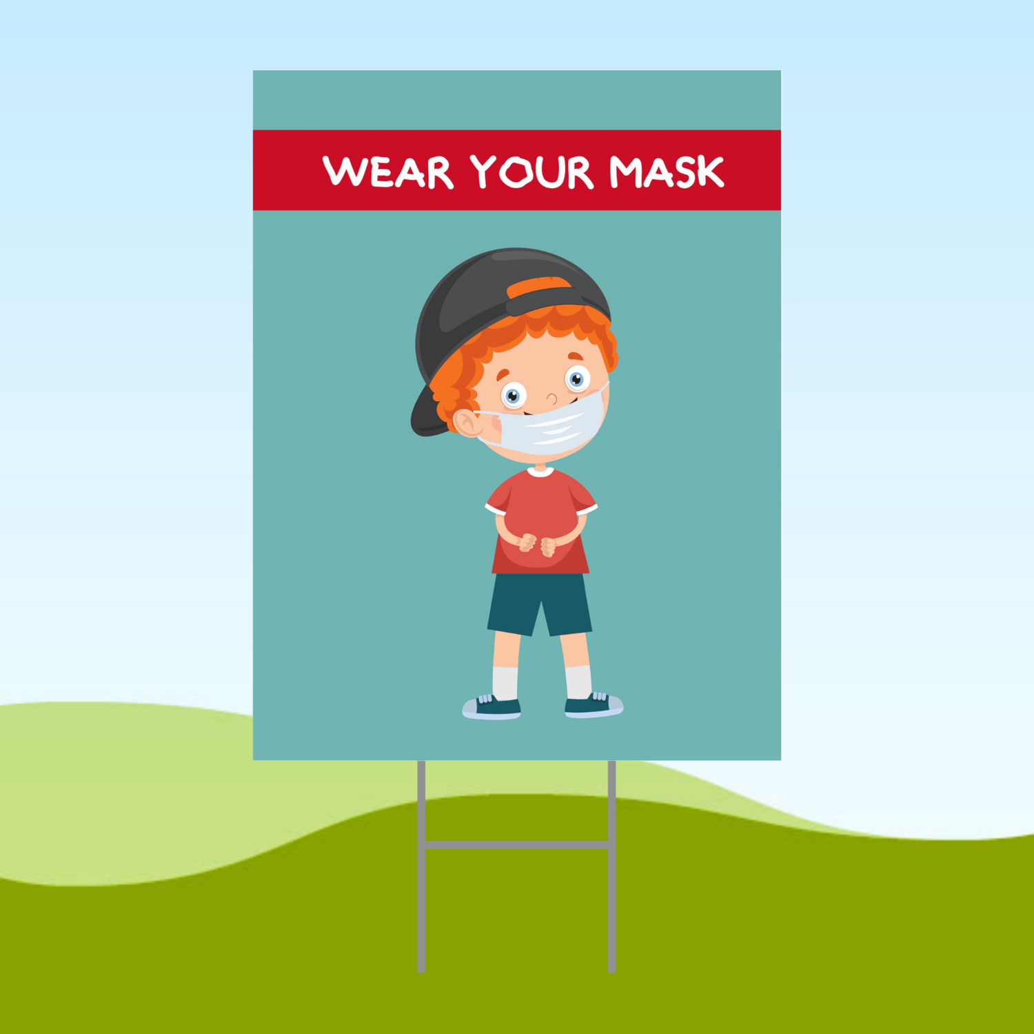 Wear Your Mask Boy ENGLISH 18x24 Yard Sign WITH STAKE Corrugated Plastic Bandit