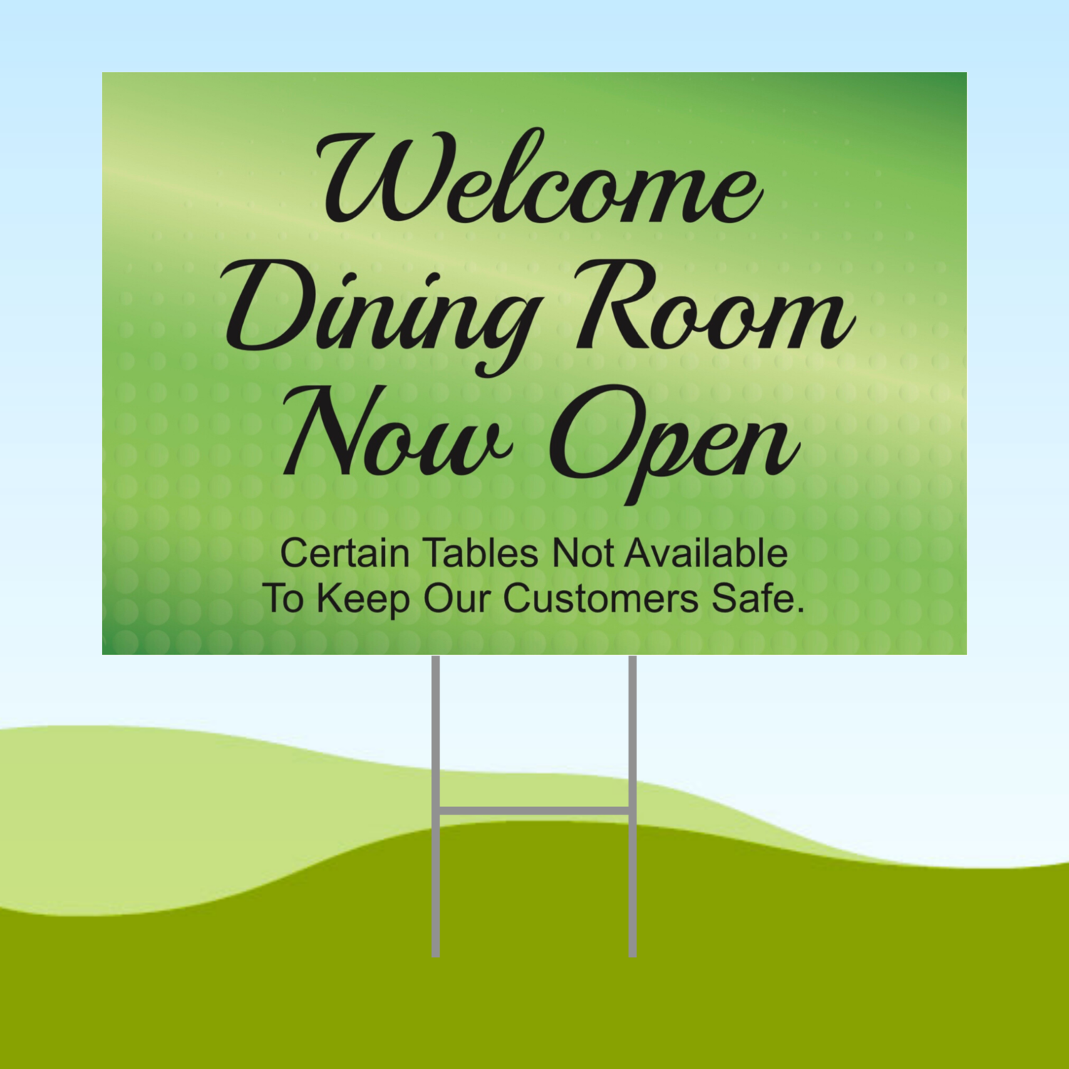 Welcome Dining Room Now Open 18x24 Yard Sign WITH STAKE Corrugated Plastic Bandit