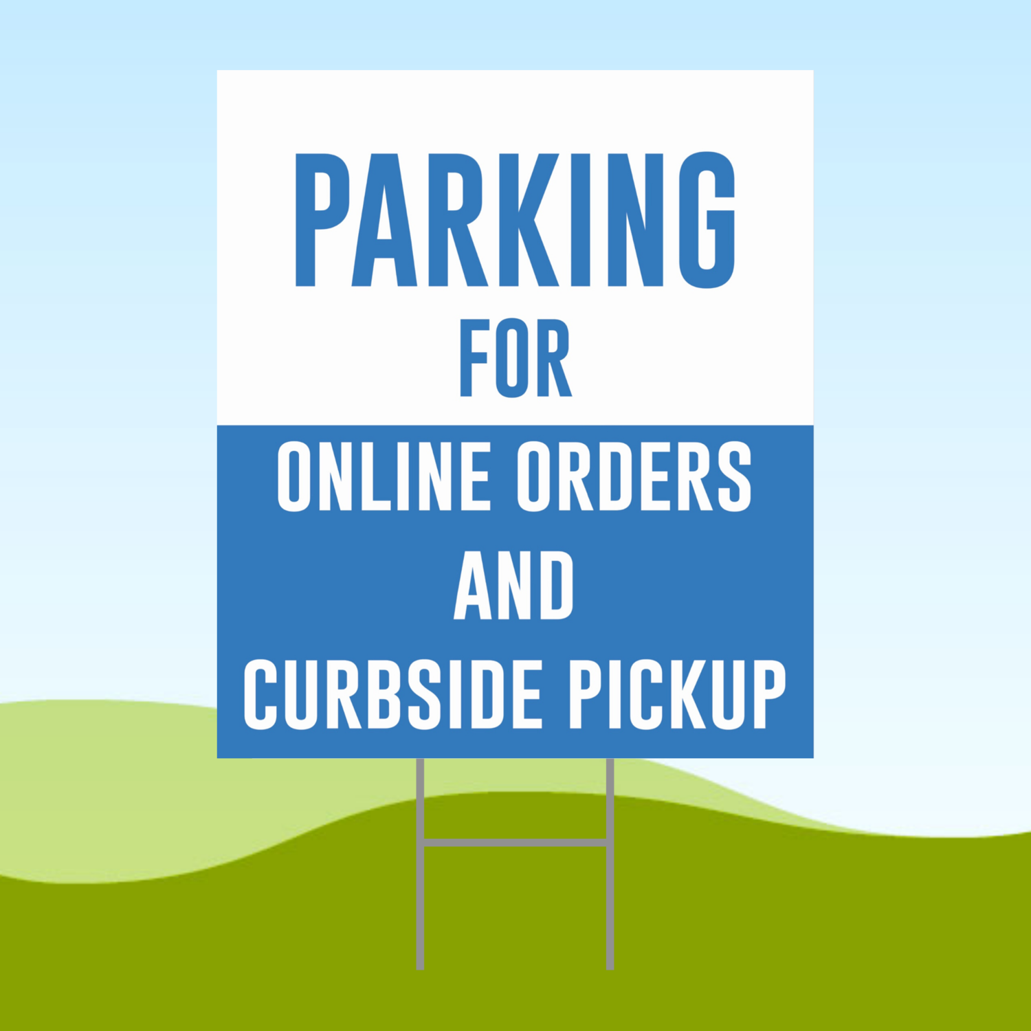Parking For Online Orders 18x24 Yard Sign WITH STAKE Corrugated Plastic Bandit