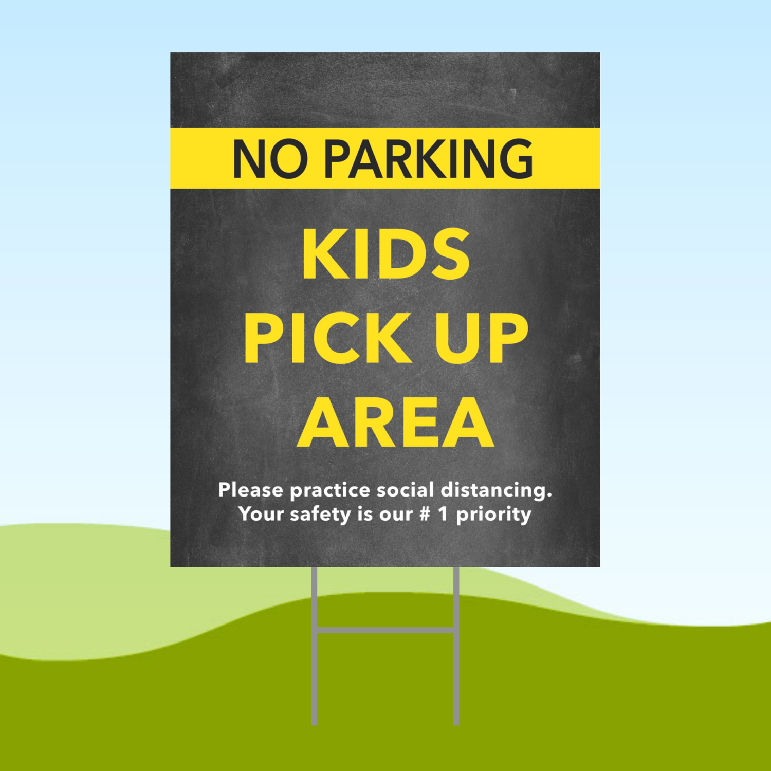 No Parking Kids Pick Up Area 18x24 Yard Sign WITH STAKE Corrugated Plastic Bandit