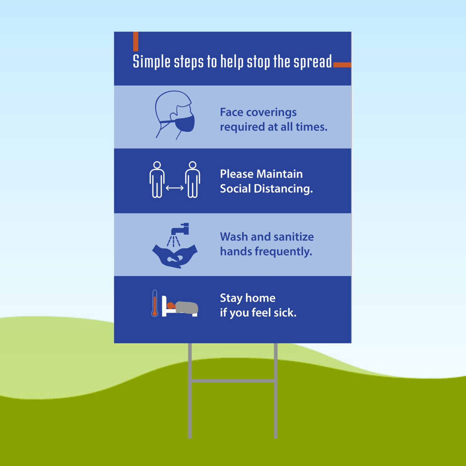 Simple Steps To Stop The Spread 18x24 Yard Sign WITH STAKE Corrugated Plastic Bandit