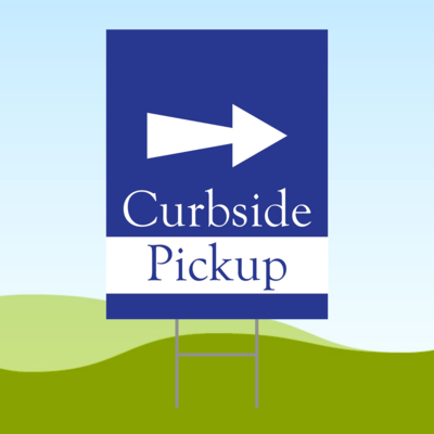 Curbside Pickup Arrow RIGHT 18x24 Yard Sign WITH STAKE Corrugated Plastic Bandit