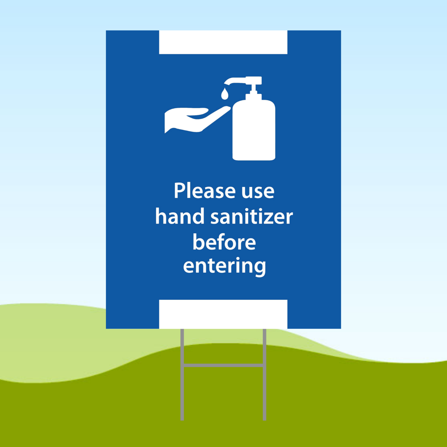 Please Use Hand Before Entering 18x24 Yard Sign WITH STAKE Corrugated Plastic Bandit