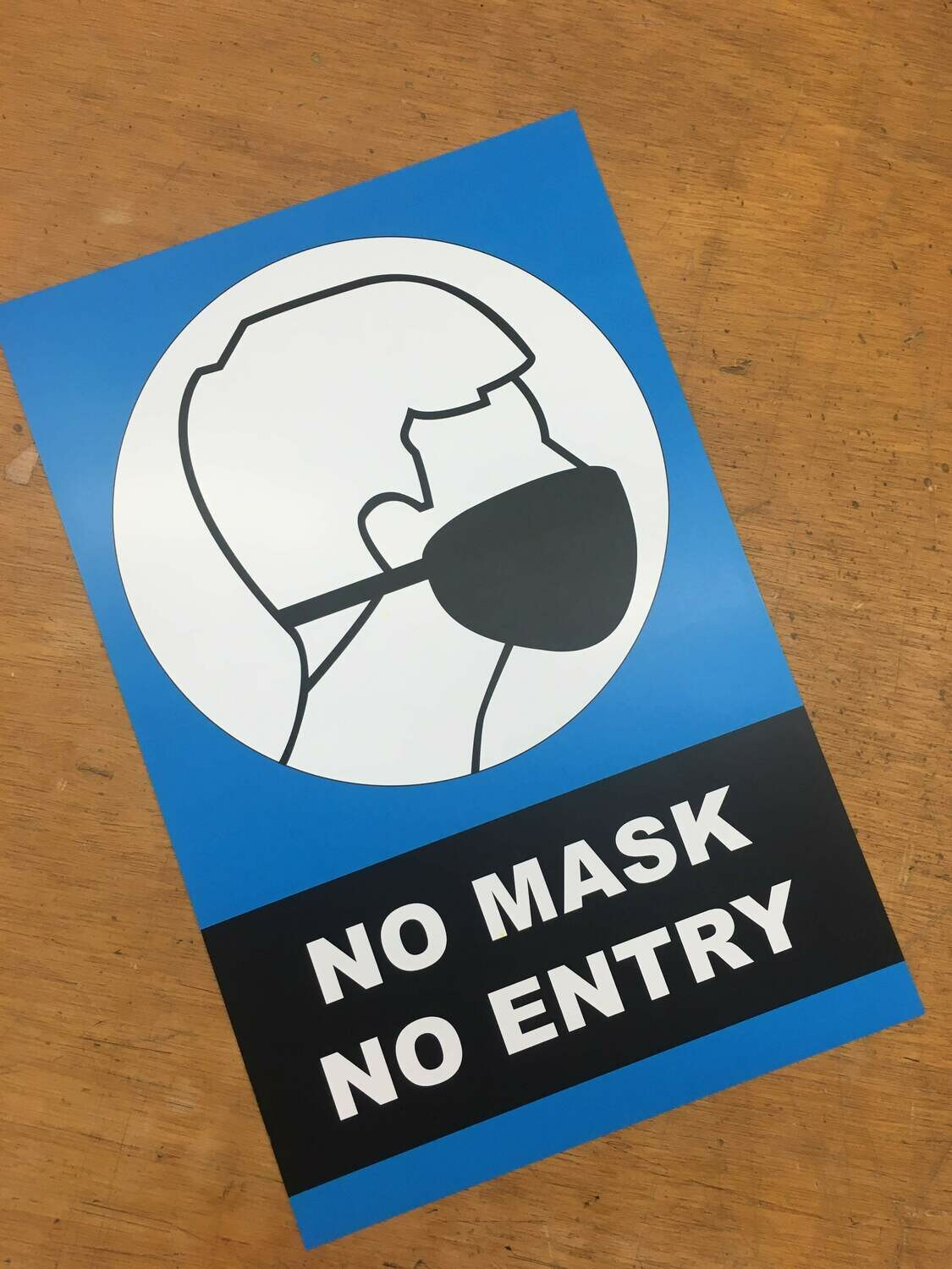 No Mask No Entry Blue 11x17 Window Poster Rally Sign Business
