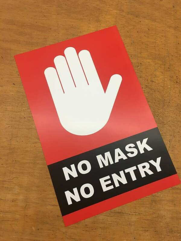 No Mask No Entry Red Hand 11x17 Window Poster Rally Sign Business