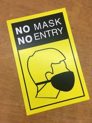 No Mask No Entry Yellow1 11x17 Window Poster Rally Sign Business