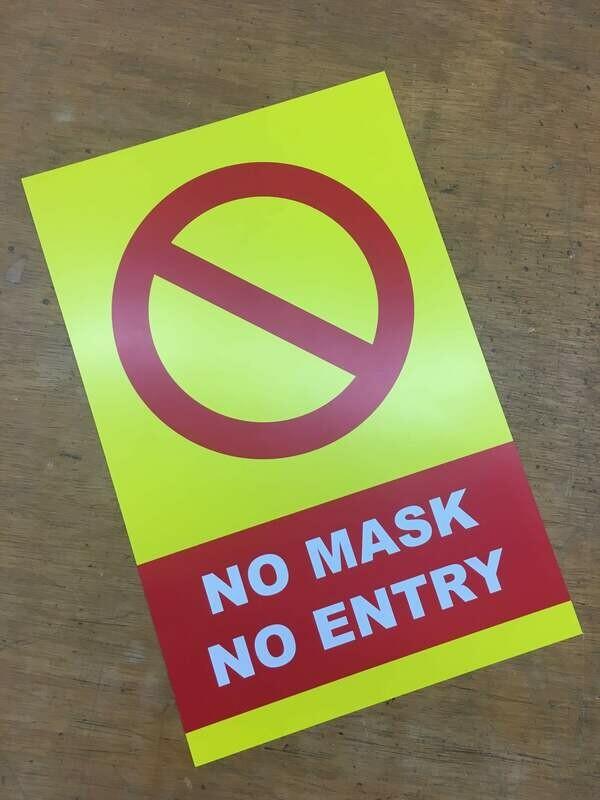 No Mask No Entry Yellow2 11x17 Window Poster Rally Sign Business