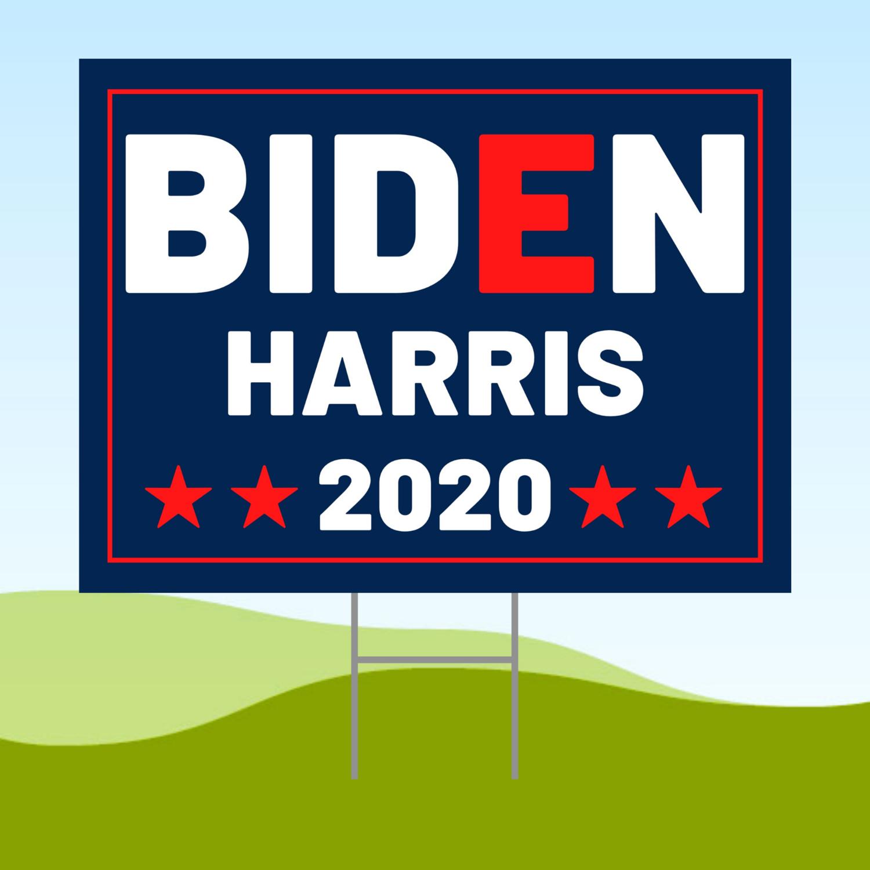 Joe Biden Kamala Harris 2020 18x24 Yard Sign WITH STAKE Corrugated Plastic Bandit Dark Blue