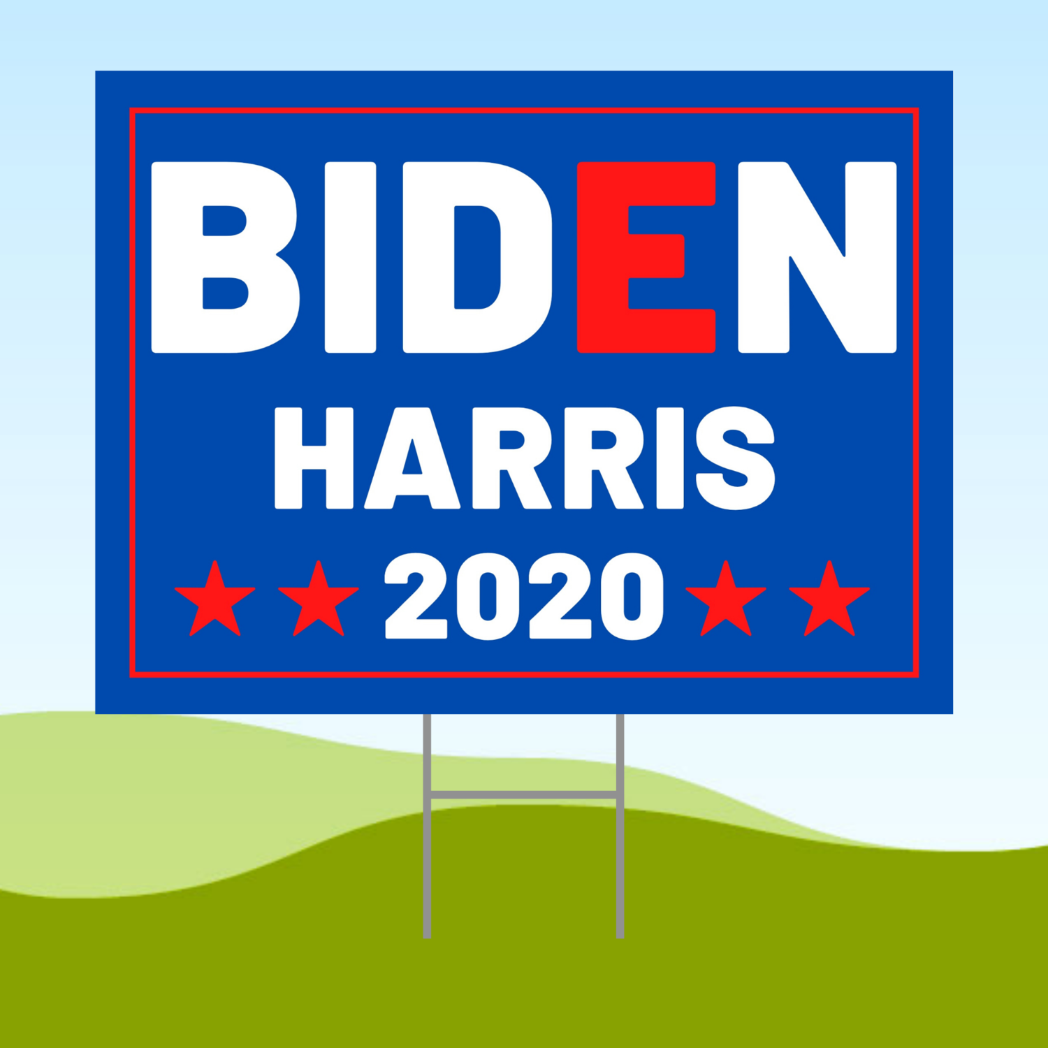 Joe Biden Kamala Harris 2020 18x24 Yard Sign WITH STAKE Corrugated Plastic Bandit Light Blue