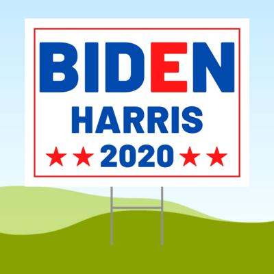 Joe Biden Kamala Harris 2020 18x24 Yard Sign WITH STAKE Corrugated Plastic Bandit WHITE