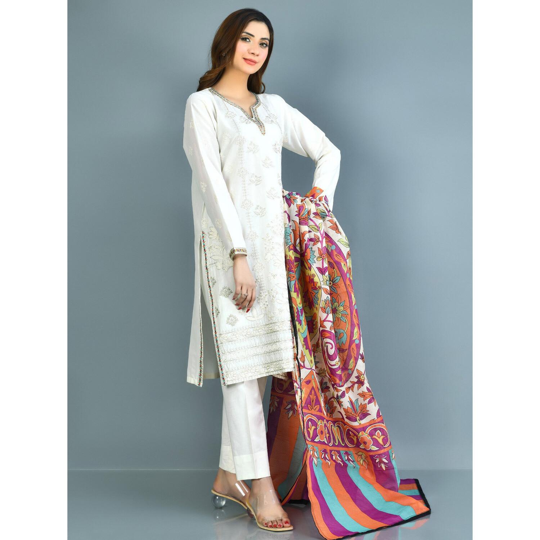 White Cotton Suit With Dupatta (L)