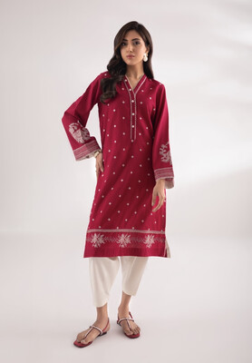 Deep Pink Kurta With White Embroidery