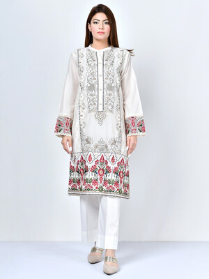 Embroidered White Kurta With Band Collar