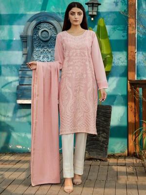 Pink Threadwork Kurta And Dupatta