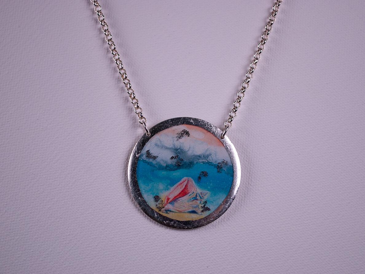 Beach Conch Silver Necklace