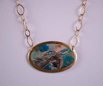 Single Sea Turtle Gold Oval Necklace