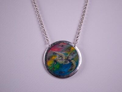 Technicolor Sea Turtle Silver Necklace
