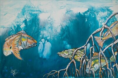 Redfish and Snook in Mangroves print