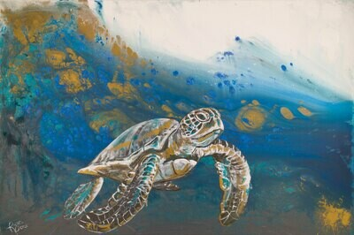 Deep Water Sea Turtle print