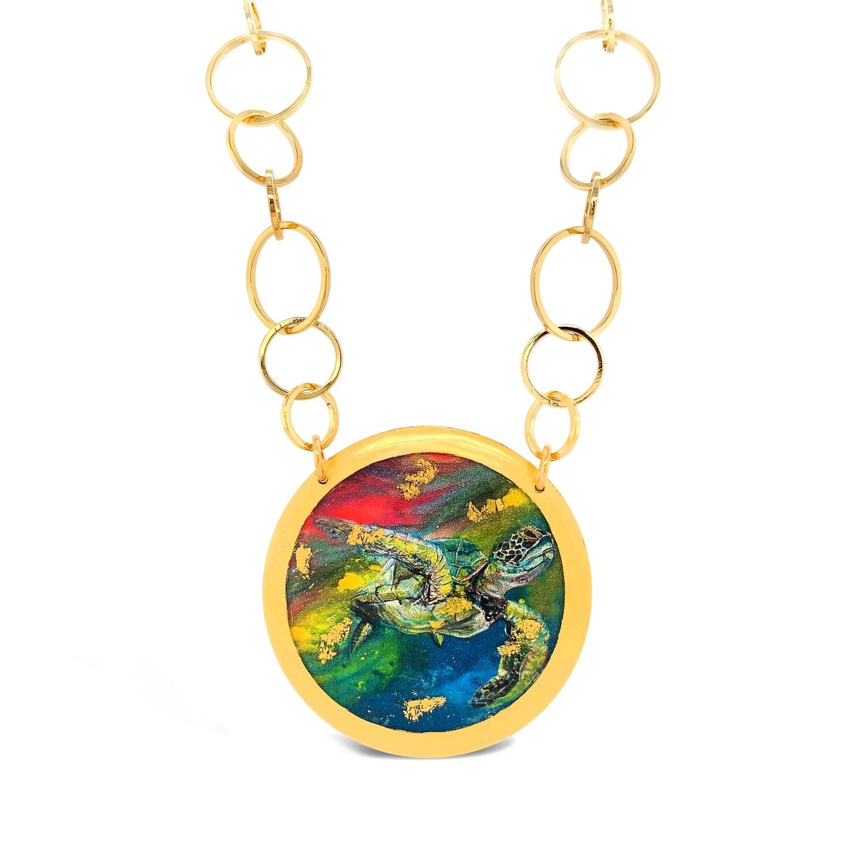 Technicolor Sea Turtle Gold Necklace