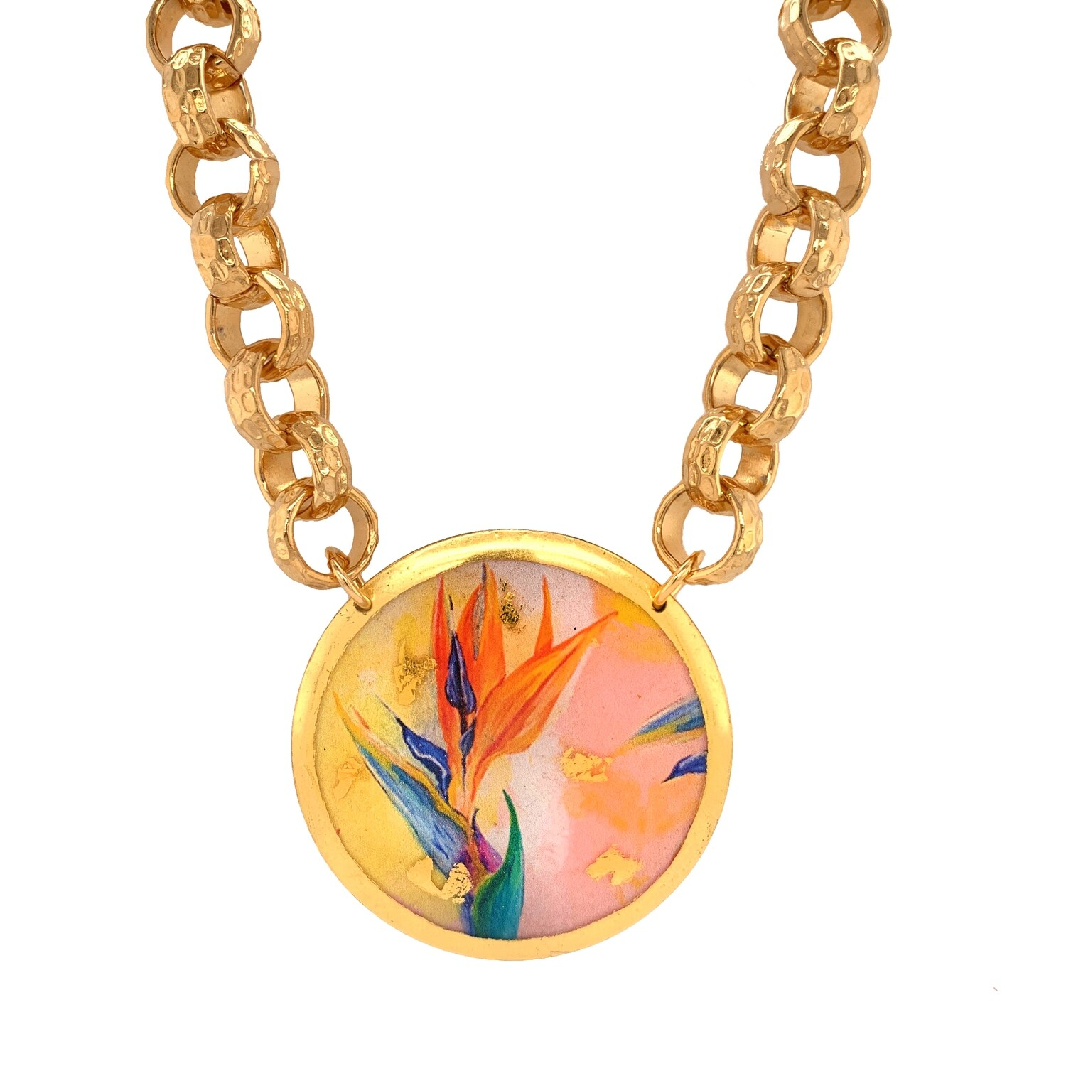 Bird of Paradise Gold Box Chain Necklace