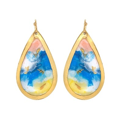 Abstract Shoreline Gold Earrings
