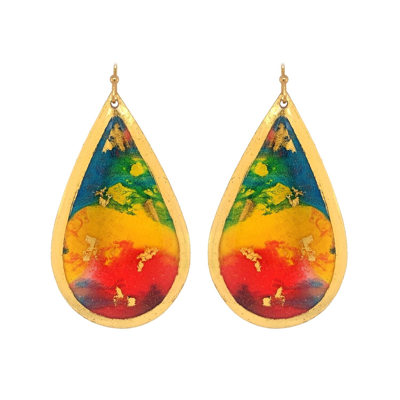 Abstract Rainbow Gold Earrings