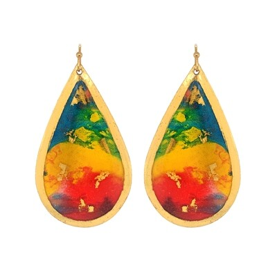 Abstract Rainbow Gold Earrings
