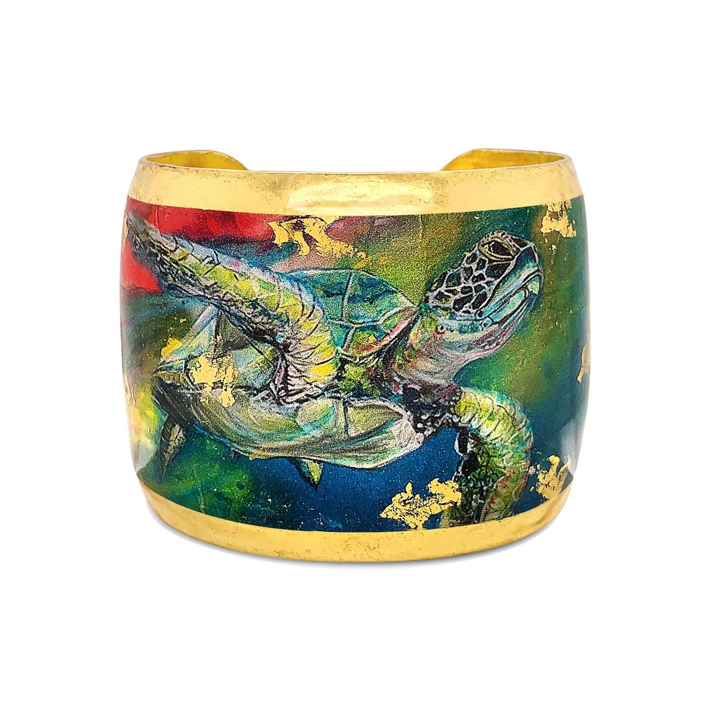 """Technicolor Sea Turtle Gold Cuff 2"""""""