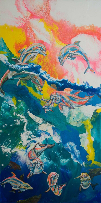 Rainbow Dolphins print