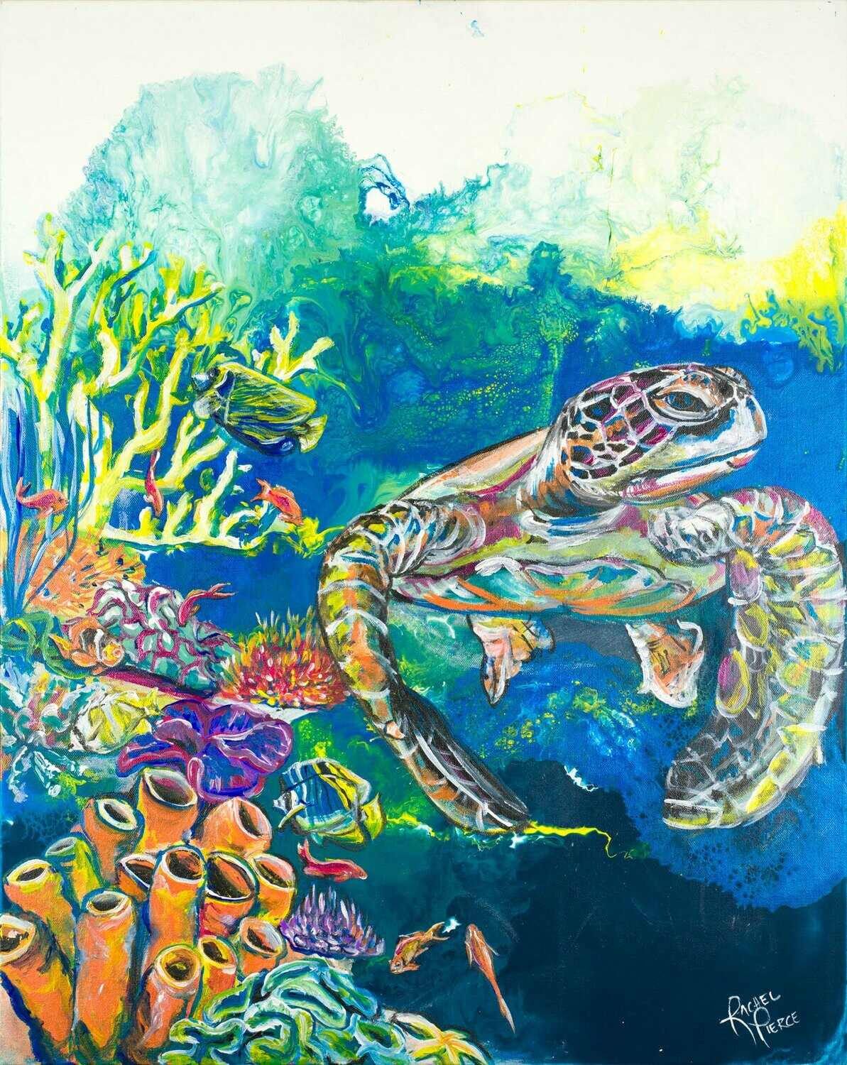 Mother Sea Turtle by the Reef print
