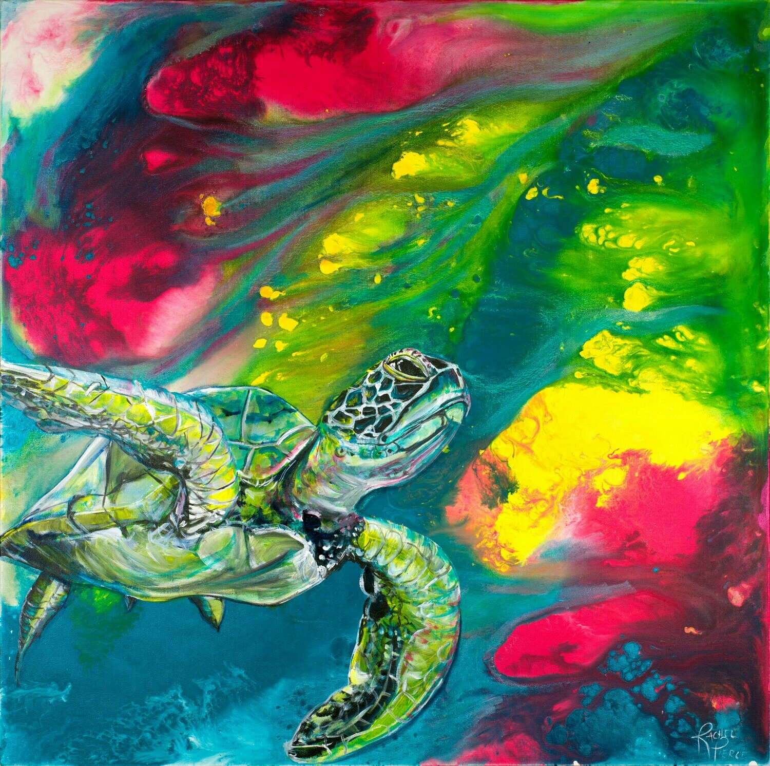 Technicolor Sea Turtle print