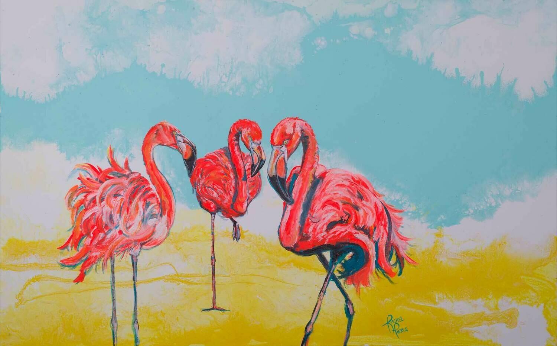 Bright Day Flamingos print