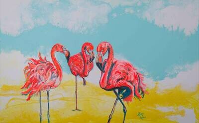 Bright Day Flamingos print