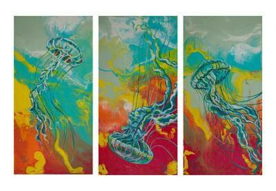 Jellyfish Triptych print set