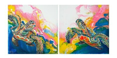 Electric Space Turtles Diptych print set
