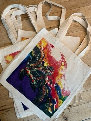 Electric Space Turtle Tote Bag