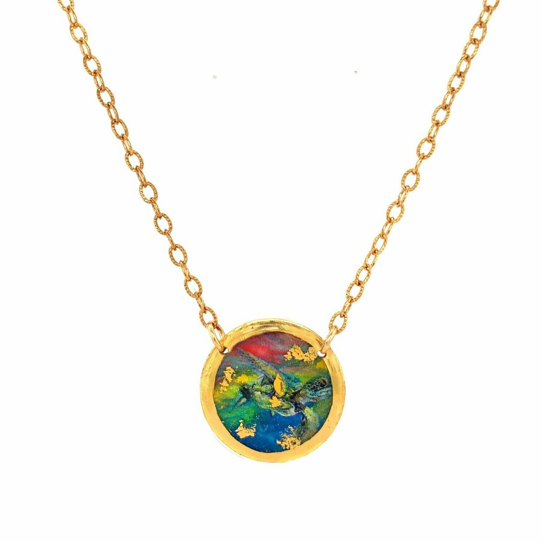 Technicolor Sea Turtle Gold Mini Necklace