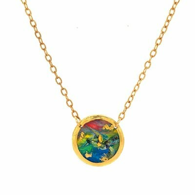 Technicolor Sea Turtle Gold Mini Necklace