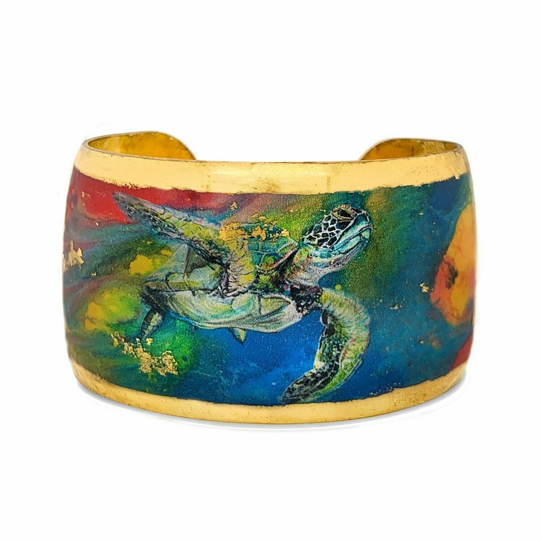 """Technicolor Sea Turtle Gold Cuff 1.5"""""""