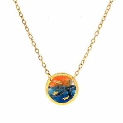 Orange and Blue Turtle Gold Mini Necklace