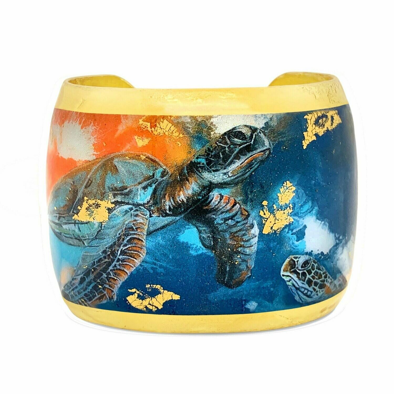 Orange and Blue Turtle Gold Cuff