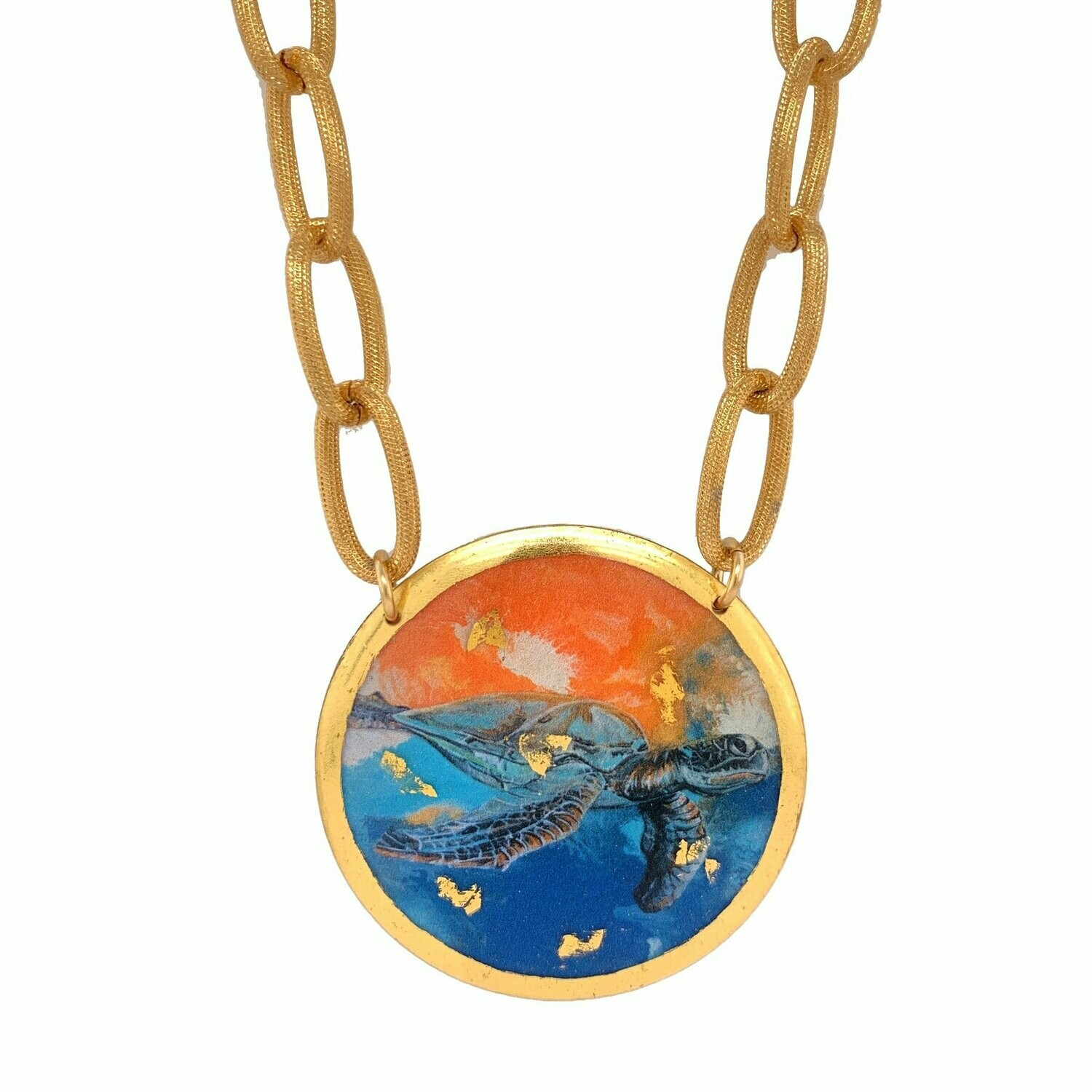 Orange and Blue Turtle Gold Necklace