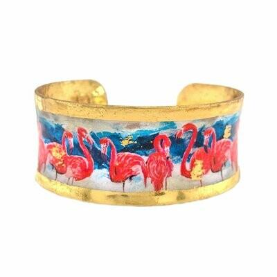 Pink Flamingos Gold Corset Cuff