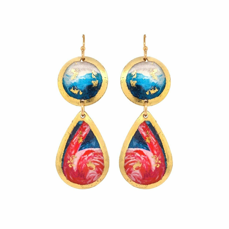 Pink Flamingo Gold Mini-Drop Earrings