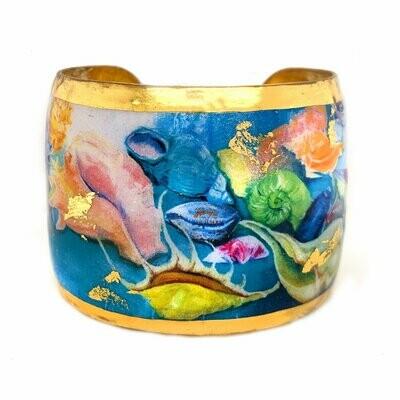 Rainbow Shells Gold Cuff