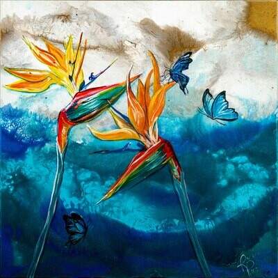 Birds of Paradise and Butterflies print