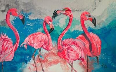 Four Flamingos on the Beach print