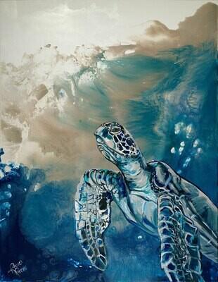 Champagne Sea Turtle 2 print